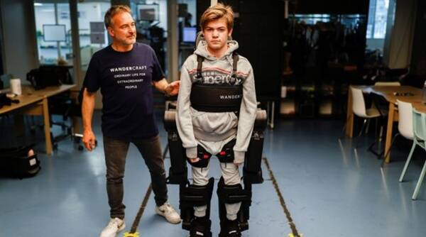 France, father builds exoskeleton for wheelchair-bound son, 16-year-old with an exoskeleton, viral video, Trending news, Viral news, Good news, Indian express news