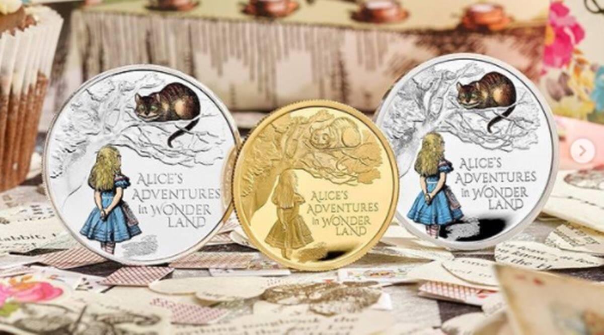 UK Royal Mint, Royal Mint launches coins commemorating Alice's Adventures In Wonderland, Alice's Adventures In Wonderland coins, indian express news