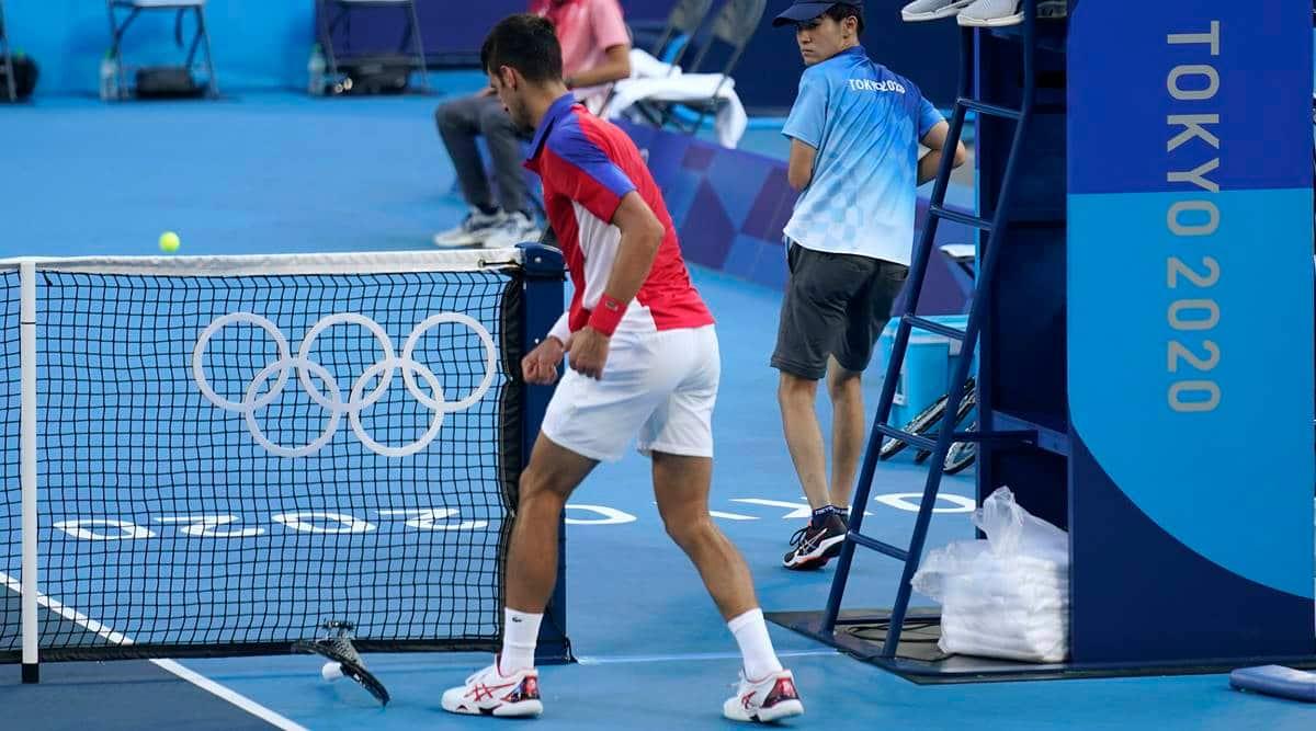 Novak Djokovic, Novak Djokovic throws racket, novak djokovic racket abuse, novak djokovic angry, novak djokovic bronze medal match, novak djokovic tokyo olympics