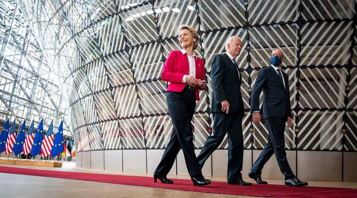 President Joe Biden walks with European Council President Charles Michel and European Commission President Ursula von der Leyen, at a summit in Brussels, June 15, 2021. (Doug Mills/The New York Times)