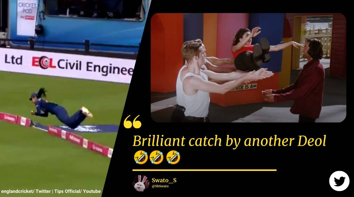 harleen deol catch, harleen deol, ind W vs eng W, bobby deol harleen deol catch reference, harleen deol catch video, sports news, funny news, cricket news, indian express