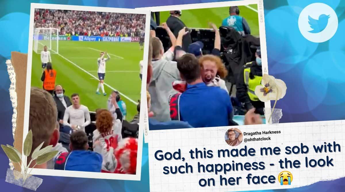 euro 2020, eng vs den, Mason Mount, Mason Mount give fan jersey, english footballer give fan shirt, Mason Mount gives fan shirt video, sports news, indian express