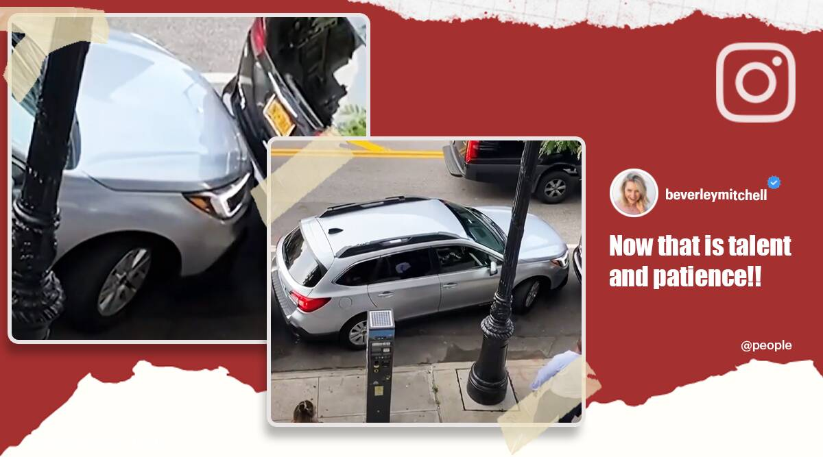 tight parking spot, new york tight parking, driver pulls out from tight parking spot, viral videos, odd news, indian express