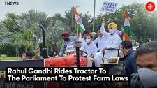 Rahul Gandhi Rides Tractor To The Parliament To Protest Farm Laws