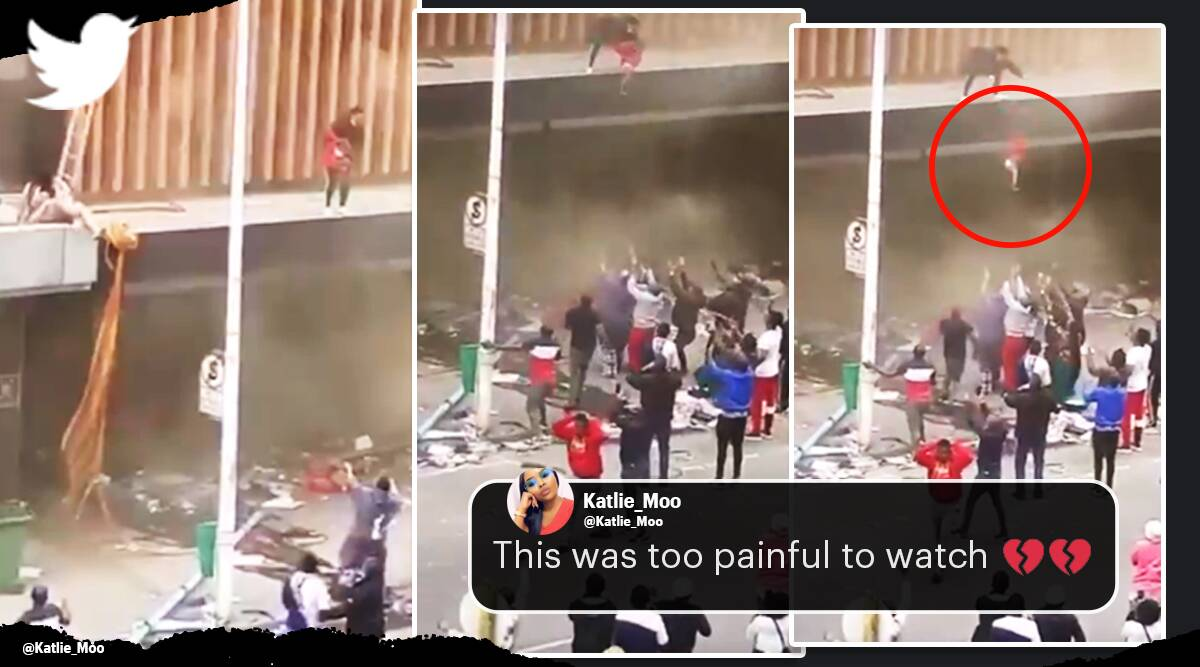 south africa, zuma riots, durban riots mother throw child off burning building, south african mother throws baby to save from fire, viral video, indian express
