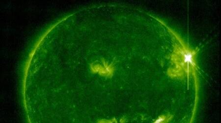 Image from Atmospheric Imaging Assembly telescope/94 Angstrom channel shows solar flare