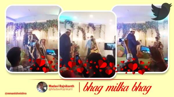 Bride playing kabaddi during marriage ceremony, Bride playing kabaddi varmala ceremony viral video, Bride running around stage during varmala ceremony, viral videos, kabaddi laying bride, Trending news, viral news, Indian Express news