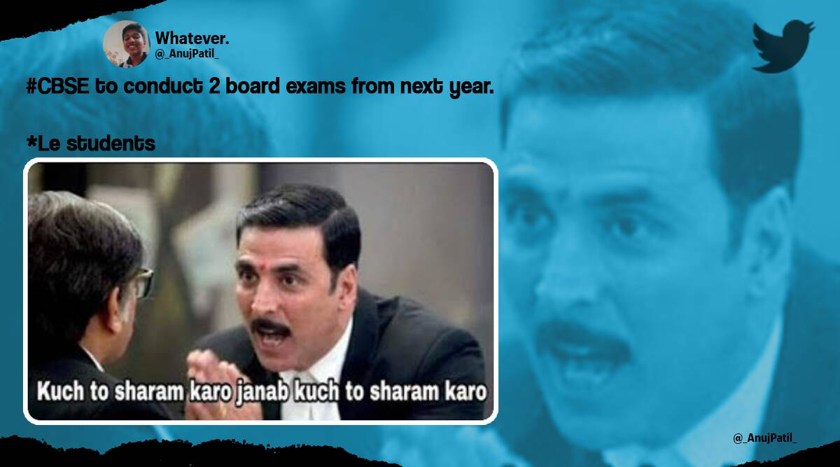 CBSE, CBSE board exam 2021-22, CBSE assessment, CBSE two board exams for class 10 and 12, Twitter reactions, memes, CBSE board exam memes, CBSE new assessment scheme, new assessment scheme 2021-22, Viral news, Trending news, Indian Express news