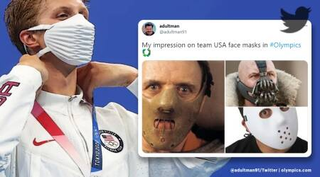Team USA's face mask at Olympics, Twitter reactions, memes, Nike face mask at Olympics, Team USA Nike face masks, bane face masks at Olympics, bane face masks from team USA, Team USA face masks memes, Team USA face mask jokes, Trending news, Viral news, Indian Express news