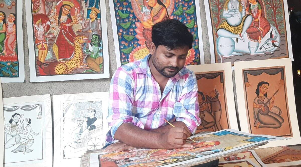 Kalighat pat paintings, paintings, art and culture, Kalighat, Kalighat paintings, Uttam Chitrakar's paintings, gay love and transpersons, indian express news