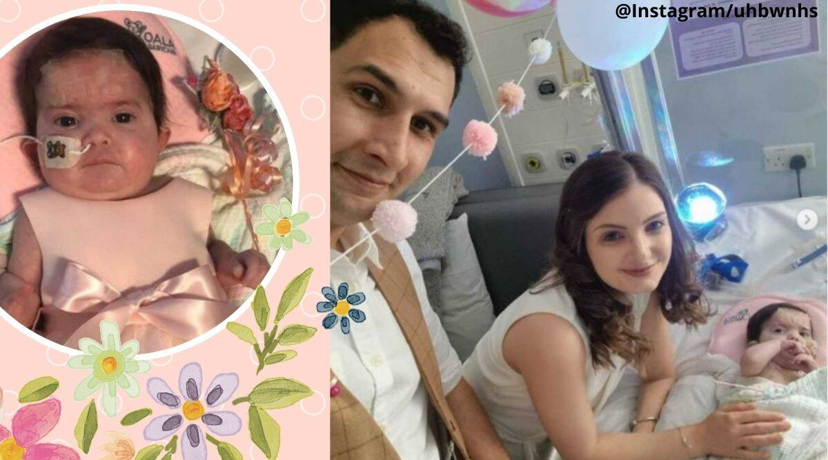 couple tie the knot in hospital, 6-month-old baby bridesmaid, Couple marry next to daughter's hospital bed, baby with charge syndrome bridesmaid, Viral news, good news, Trending news, viral news, Indian express news