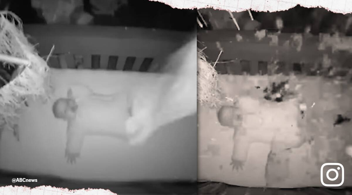 baby in crib oak tree fall viral video, Baby monitor captures oak tree crash onto crib 5-month-old baby sleeps, twitter reactions, indian express, indian express news