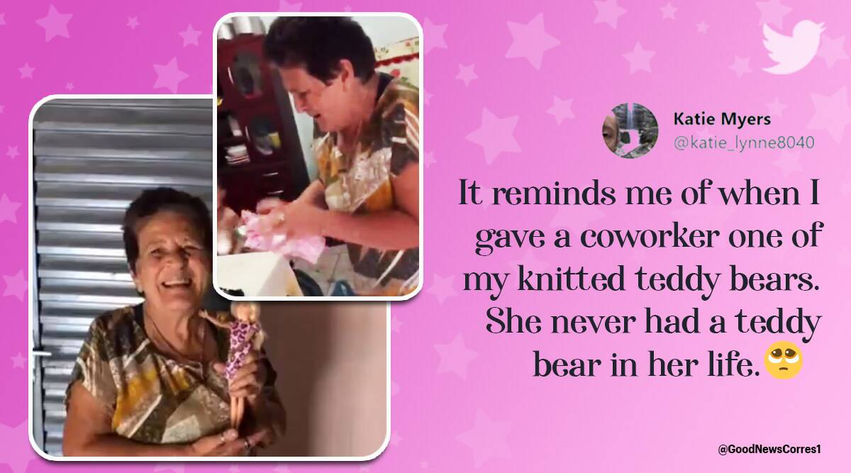 woman gifts grandmother first barbie viral video, brazil, brazil woman gifts grandmom barbie, barbie doll, toys, trending, indian express, indian express news