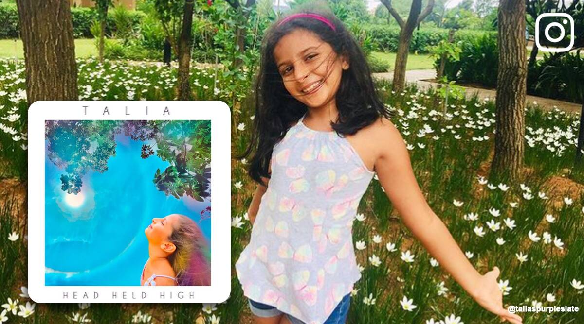 talia head held high, bengaluru student release original english song, class 3 student writes and compose song, viral news, good news, indian express
