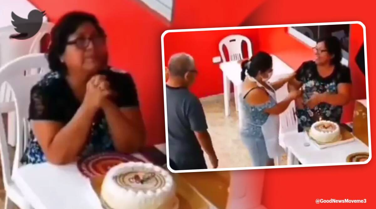 birthday, woman celebrates woman alone, gets a surprise, good news, twitter reactions, trending news, Viral news, indian express news