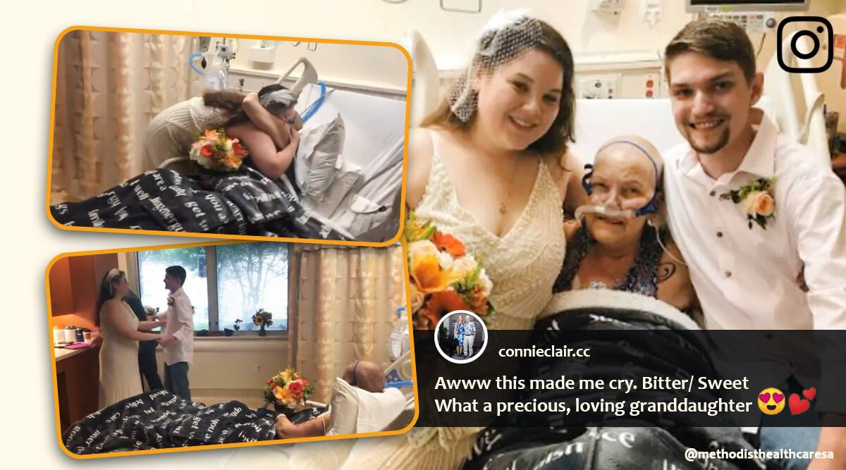 cancer patient witness granddaughter wedding, woman marries at hospital for dying grandmother, good news, viral videos, indian express