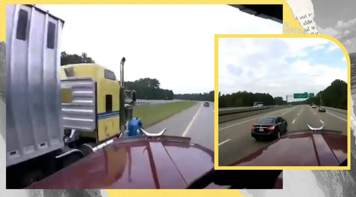 truck, truck highway accident, close save truck driver prevents accident, close shave, truck driver prevent accident after car takes over. twitter reactions, viral video, indian express, indian express news