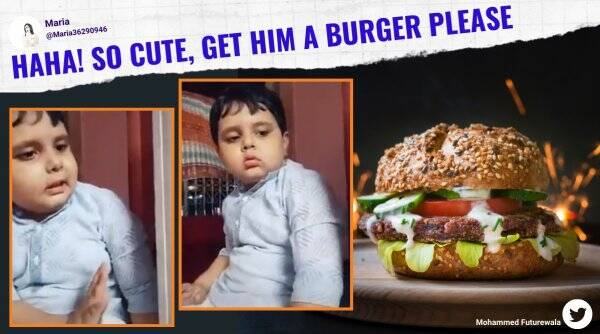 burger, boy angry not getting burger, boy cute video angry burger, kid not getting burger viral video, funny children getting angry video, indian express