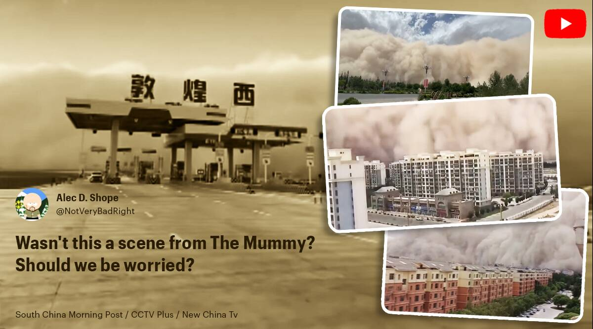 china, china sandstorm, sandstorm china video, Dunhuang city sandstorm, viral videos china sandstorm, viral videos, china climate change, Trending news, indian express news