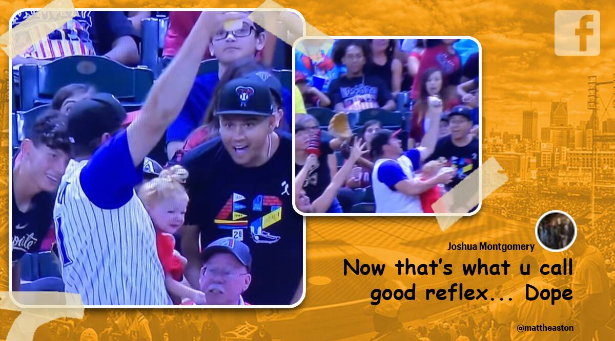 baseball foul ball catch, father juggle baby beer and ball, dad mlb game juggle beer and baby, baseball crazy errant ball catch, viral video, indian express