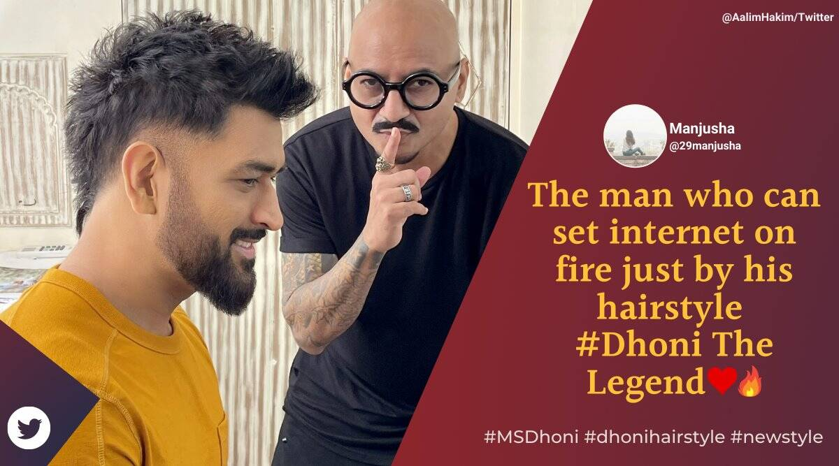 ms dhoni, ms dhoni new look, dhoni new hairstyle, dhoni new haircut, dhoni faux hawk style, dhoni hairstyles, sports news, viral news, indian express