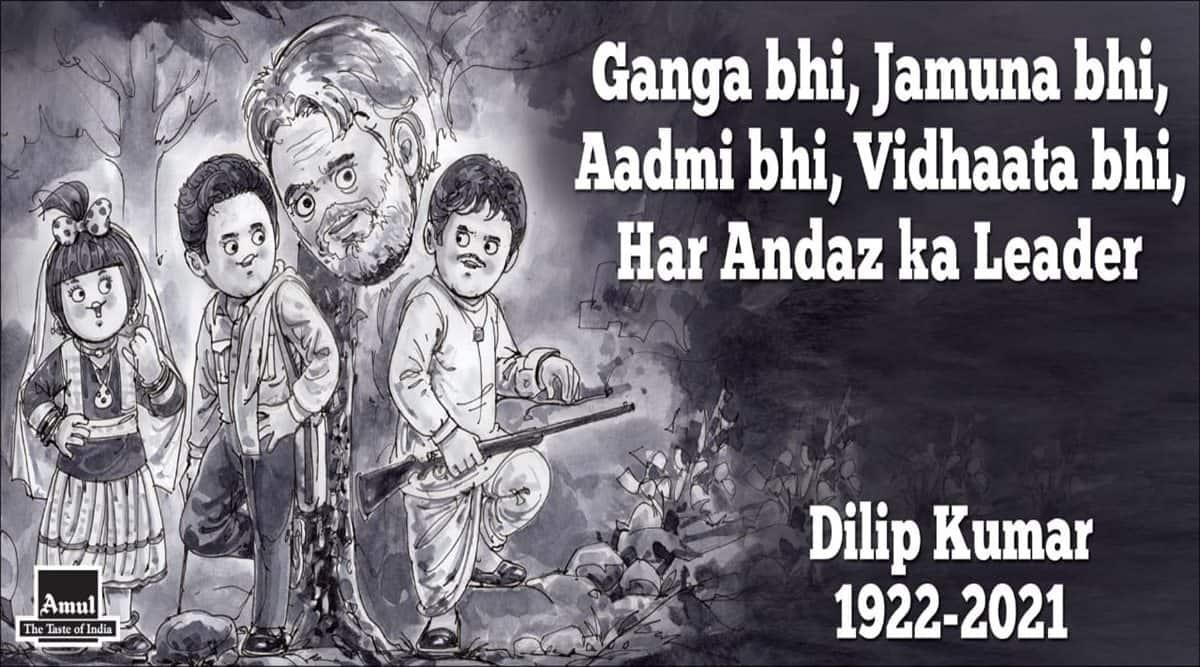 dilip kumar, dilip kumar dead, dilip kumar amul cartoon, amul topicals, dilip kumar films, dilip kumar death homage, viral news, entertainment news, indian express