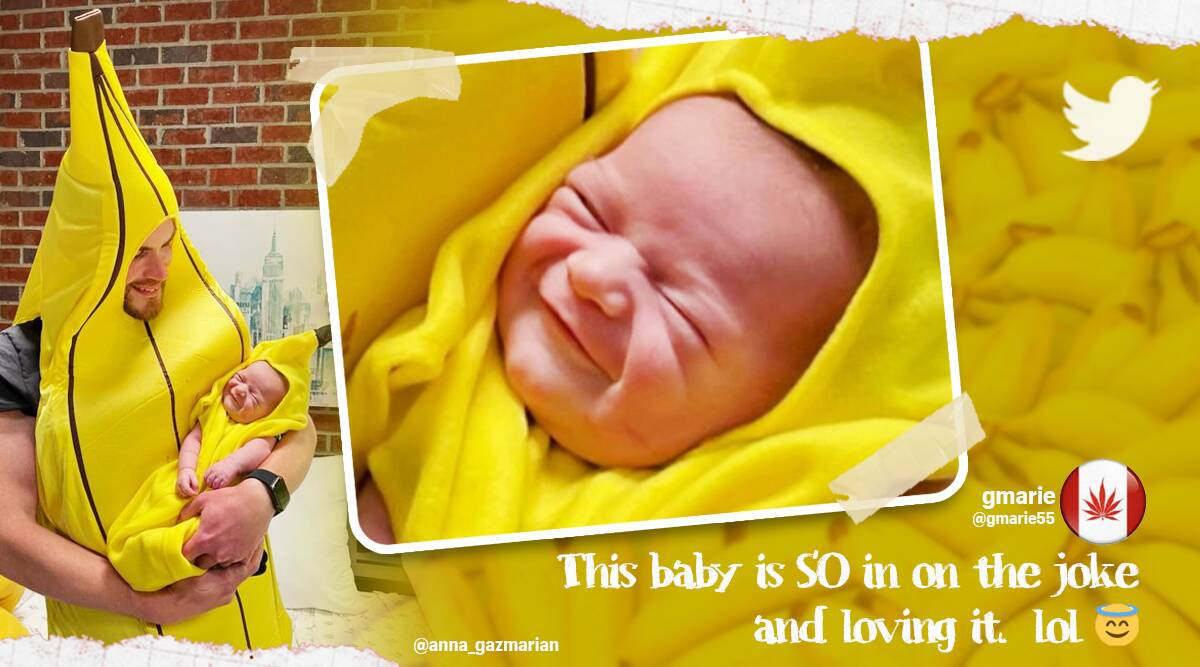 baby dad banana outfit, father daughter matching outfits, father child banana outfits, viral news, cute baby costume ideas, Trending news, viral news, Indian express news