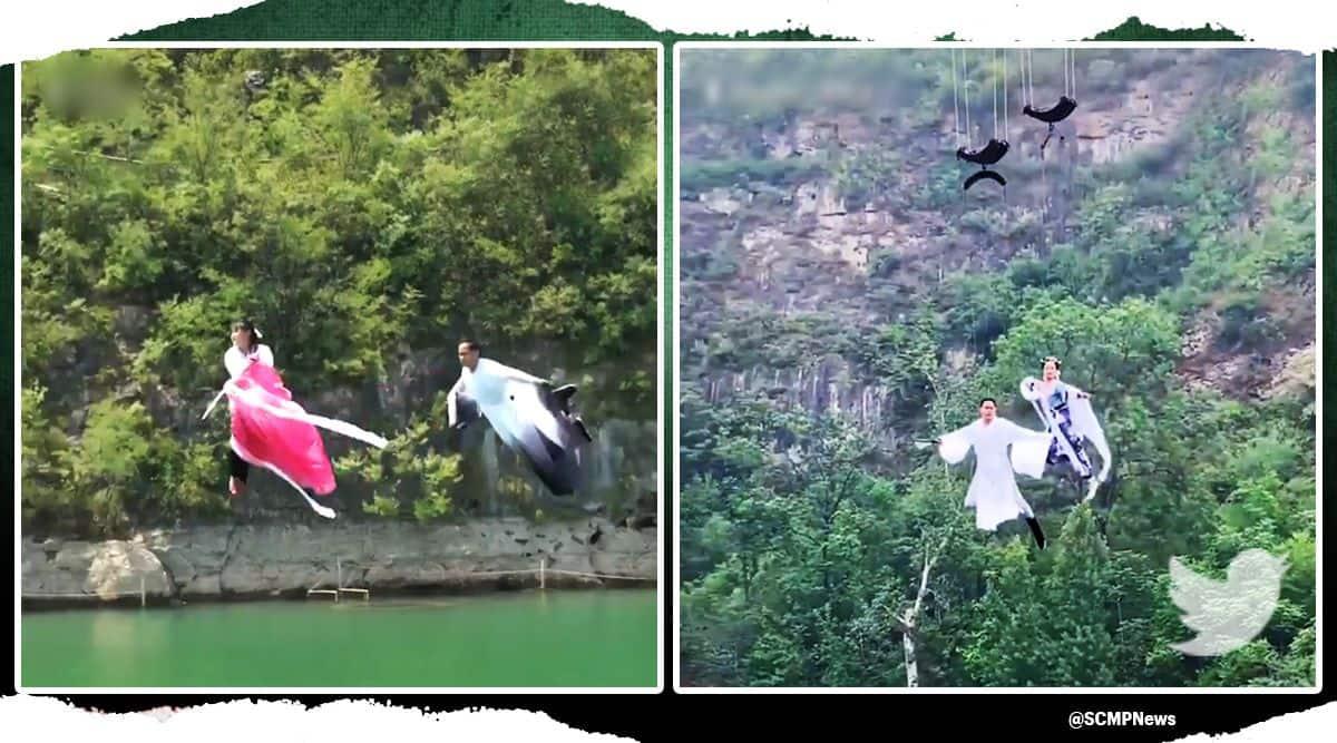 china, world of kung fu, running on water, flying across river, china kung fu world viral video, indian express, indian express news