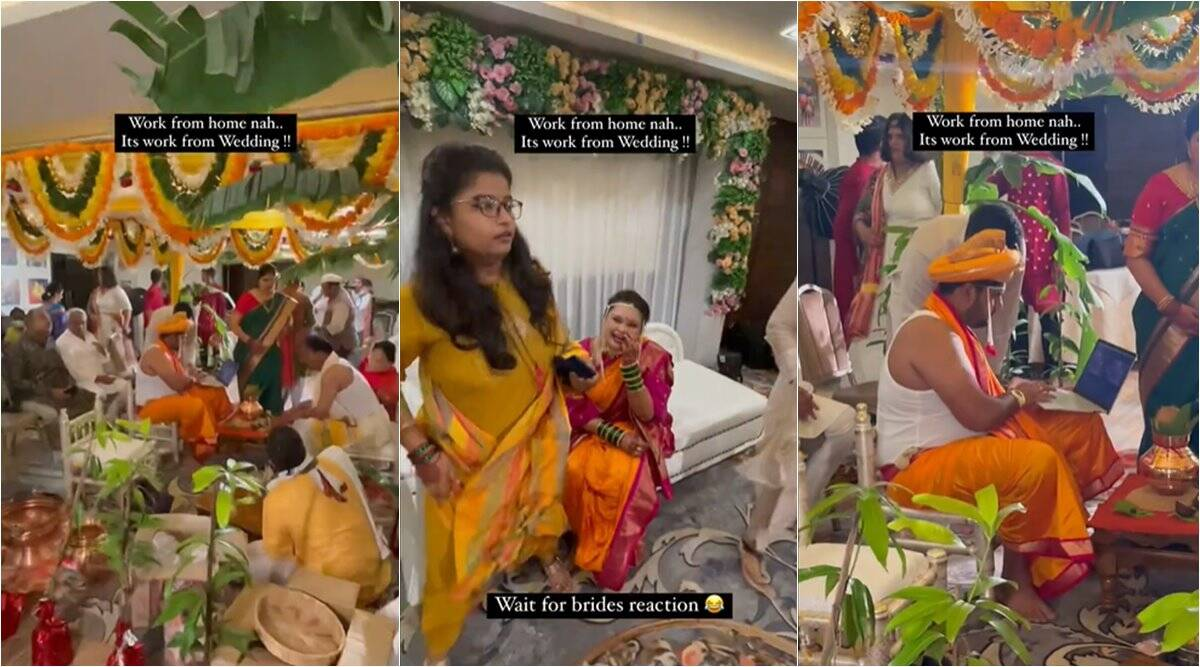 work from home funny moments, work from wedding, groom working on wedding day, groom laptop wedding ceremony, viral videos, indian express