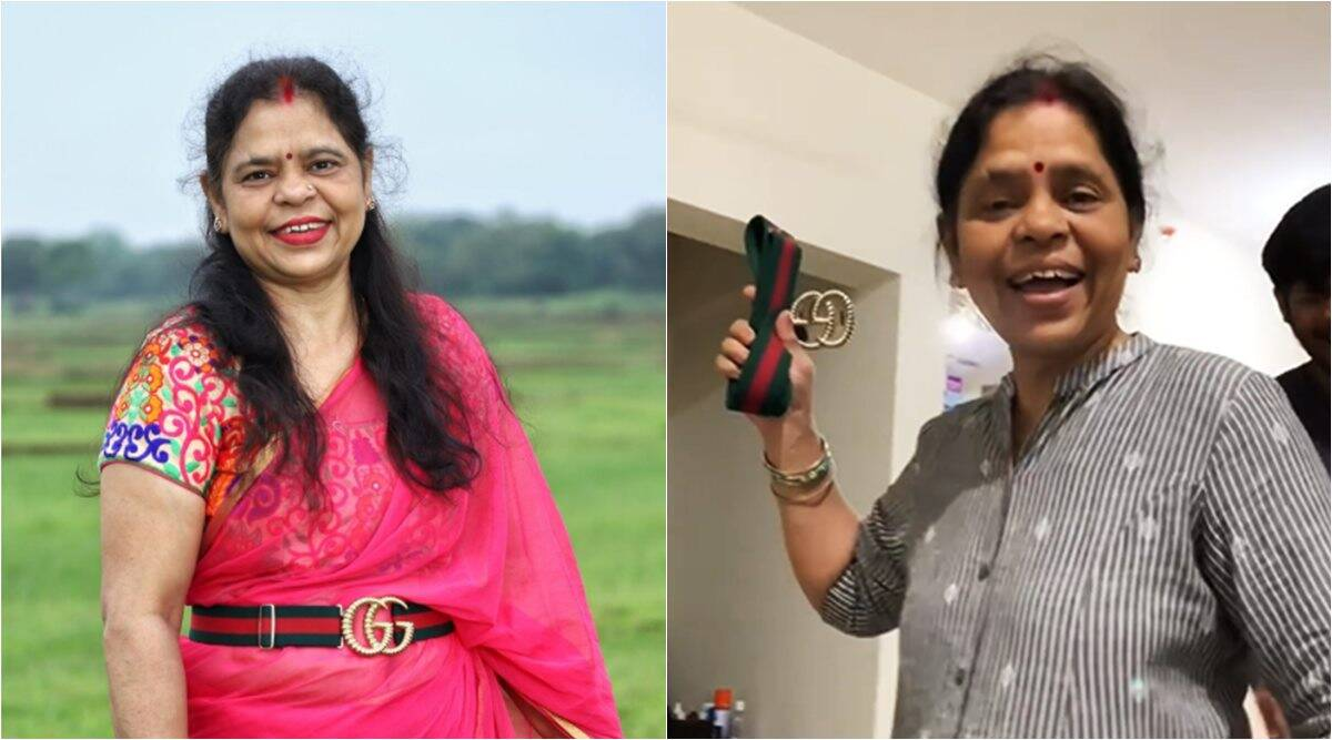Desi mom who went viral for reaction to Gucci belt, wins internet after styling her with a saree