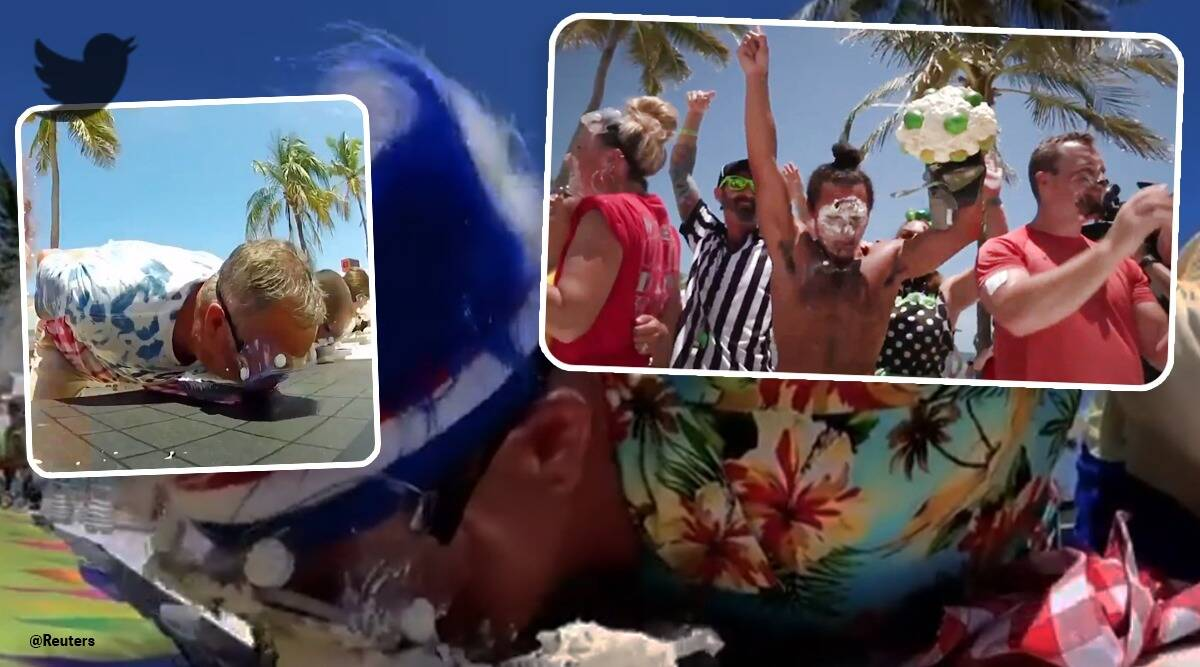 florida key lime pie eating championship viral video, pie eating competition, twitter reactions, indian express news