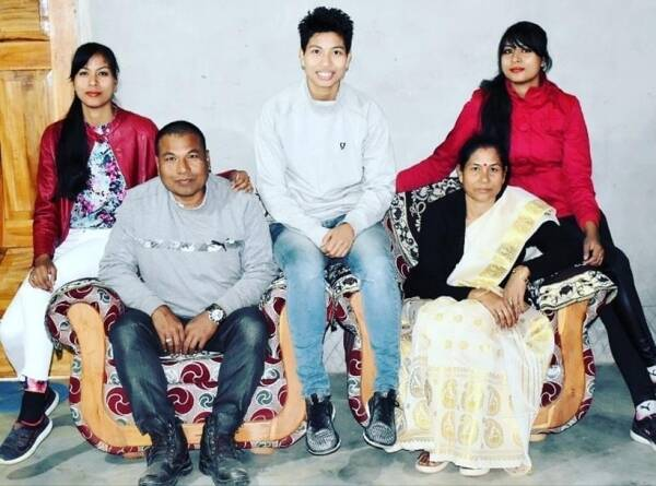 Lovlina with her family in Assam.