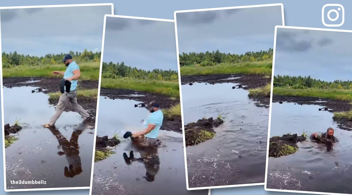 british man plunges into muddy water after taking shortcut Maldives vacation, funny viral videos, funny video, husband wife funny moments, trending news, Indian express news