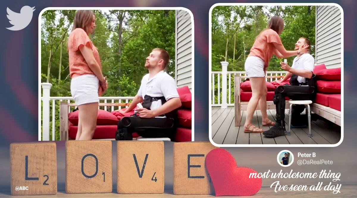 Paralysed man proposes to girlfriend, exoskeleton suit, man proposes in exoskeleton suit viral video, twitter reactions, indian express news