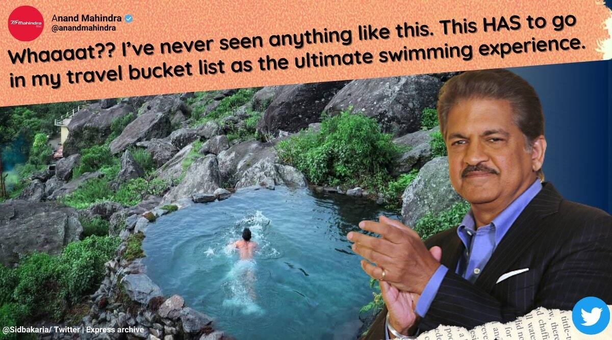 Swimming in heaven': Natural pool in the hills wows Anand Mahindra, photo goes viral | Trending News,The Indian Express
