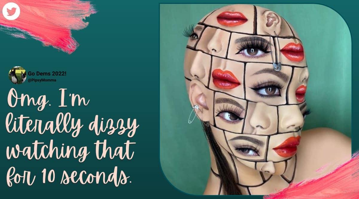 optical illusion, optical illusion makeup, mimi choi illusion make up, makeup artist trippy art, make up artist viral illusion face art, viral news, indian express