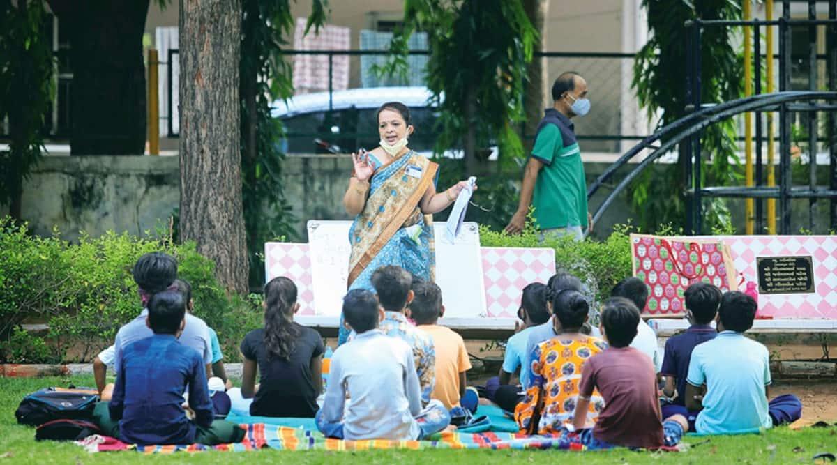 Schools shut, Gujarat municipal teachers hold classes in parks, bridge digital divide