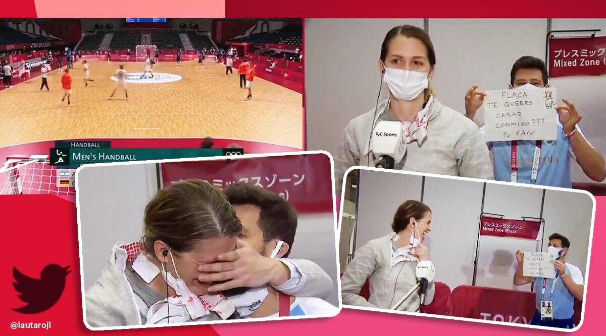 Tokyo Olympics Argentina fencer gets engaged coach proposes 11 years asking, Tokyo Olympics, Tokyo Olympics proposal, Tokyo Olympics trending, viral news, indian express news