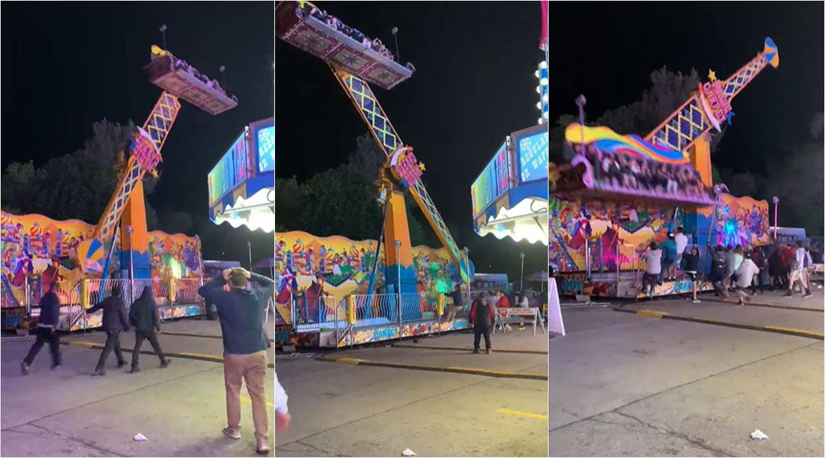 National Cherry Festival, National Cherry Festival ride malfunction, National Cherry Festival ride viral video, onlookers help unruly ride passenger, indian express