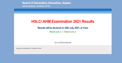 SEBA Assam Board HSLC 10th Result 2021: TheBoard of Secondary Education, Assam (SEBA) will declare the results for HSLC class 10 board examinations 2021 today at 11 am.