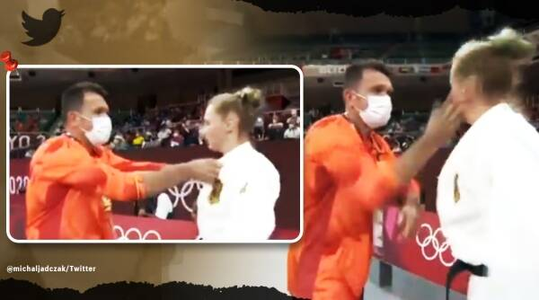 Tokyo Olympics, Tokyo Olympics judo coach viral video, Olympic coach slapped German athlete on live TV, Martyna Trajdos, trending. indian express, indian express news