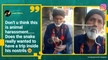 man inserts snake into nose, man inserts and pulls out snake from nose, Vidyut Jammwal, Vidyut Jammwal snake trick video, indian express