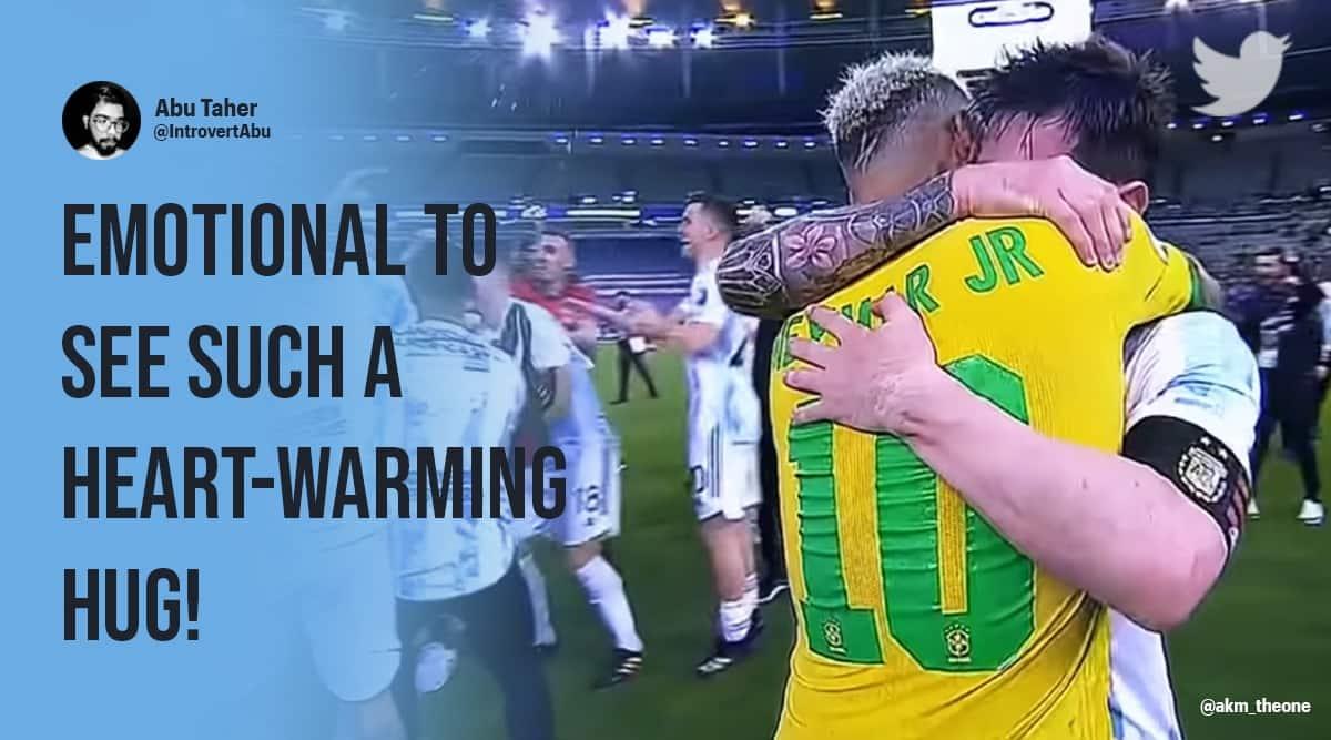 Messi, argentive vs brazil, neymar messi hug, neymar crying, Argentina beat Brazil 1-0, Copa America title, football, finals, twitter reactions, indian express, news