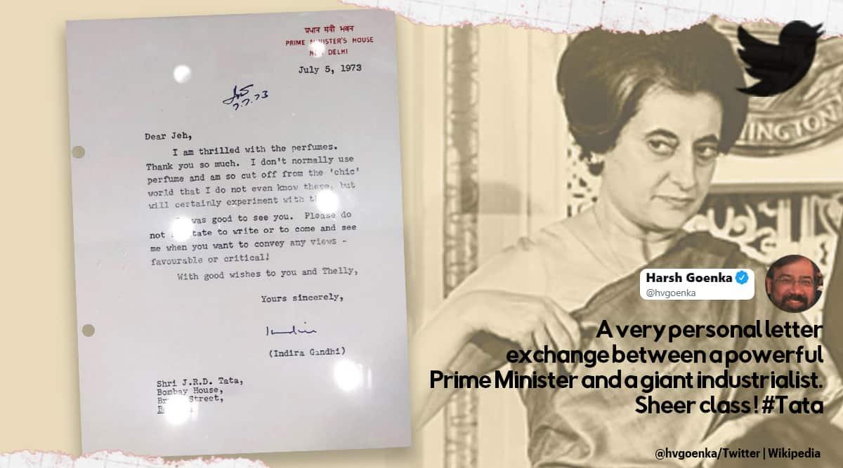 Indira Gandhi's letter of thanks to JRD Tata, Indira Gandhi letter to JRD Tata, Indira Gandhi personal type written letter to JRD Tata, Harsh Goenka, Harsh Goenka Twitter, Viral news, Trending news, Indian Express news
