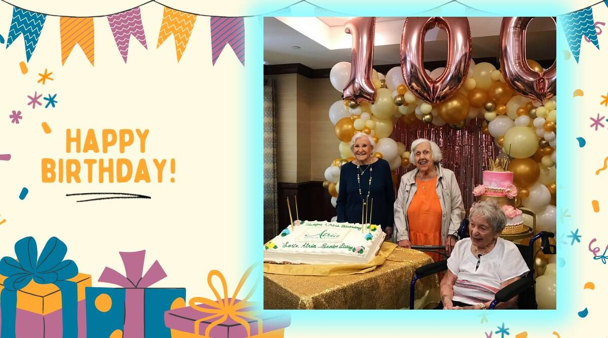 after vaccine seniors celebrate 100 birthday, three NYC women celebrate 100 birthday, assisted living birthday party residents, covid vaccine, indian express