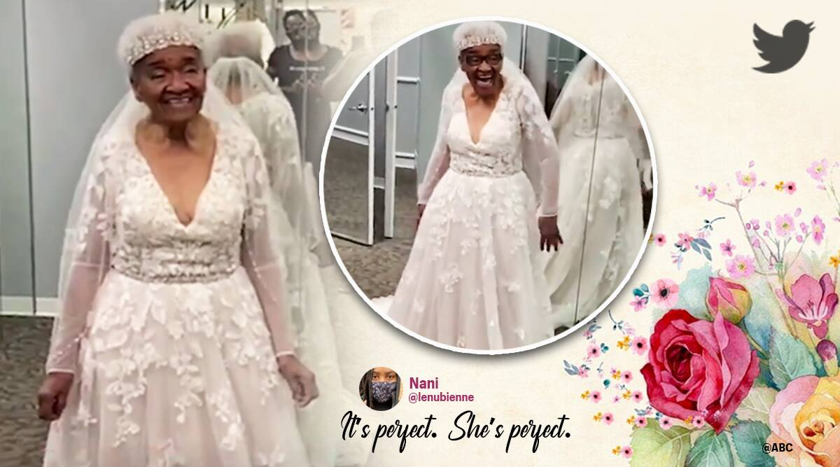 94 year old woman wears wedding gown for the first time viral video, 94 year old in wedding dress, 94 year old woman in wedding gown, black woman, black rights, black lives matter, twitter reactions, Indian express news