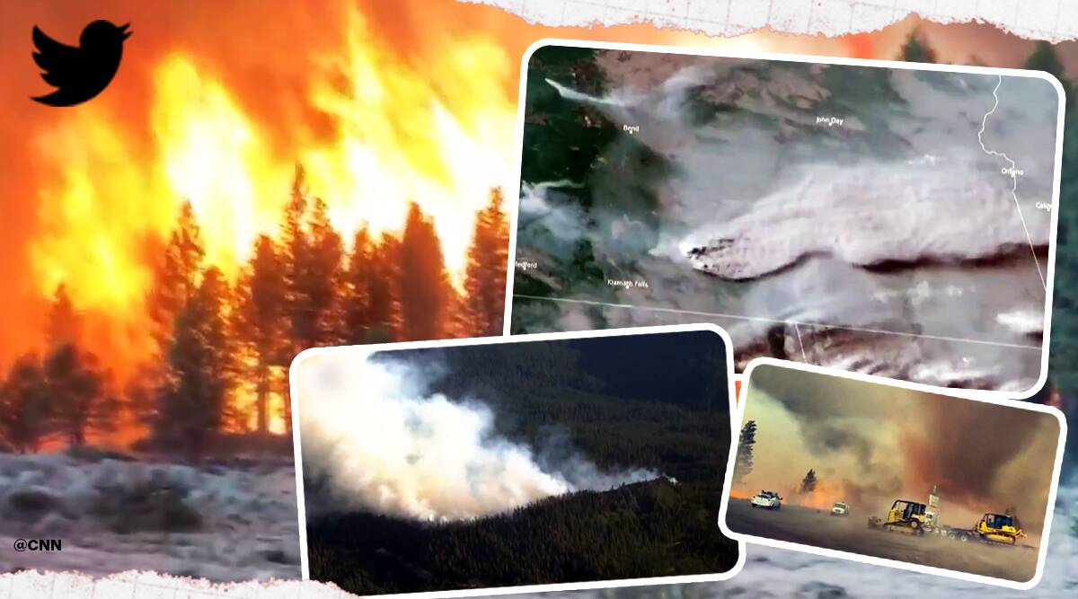 Oregon wildfires, Oregon wildfires from space, Oregon wildfires ariel view, Oregon wildfires viral video, Viral video, Trending news, Indian Express news