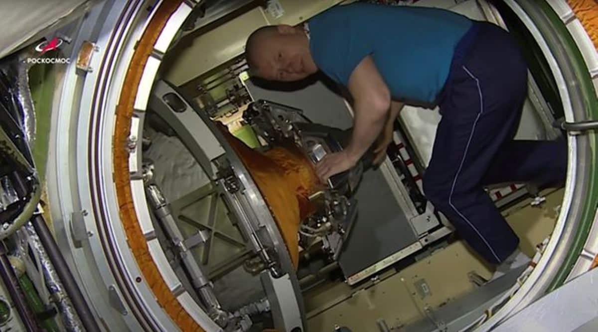 ISS crew member Roscosmos cosmonaut Novitskiy enters Nauka Multipurpose Laboratory Module