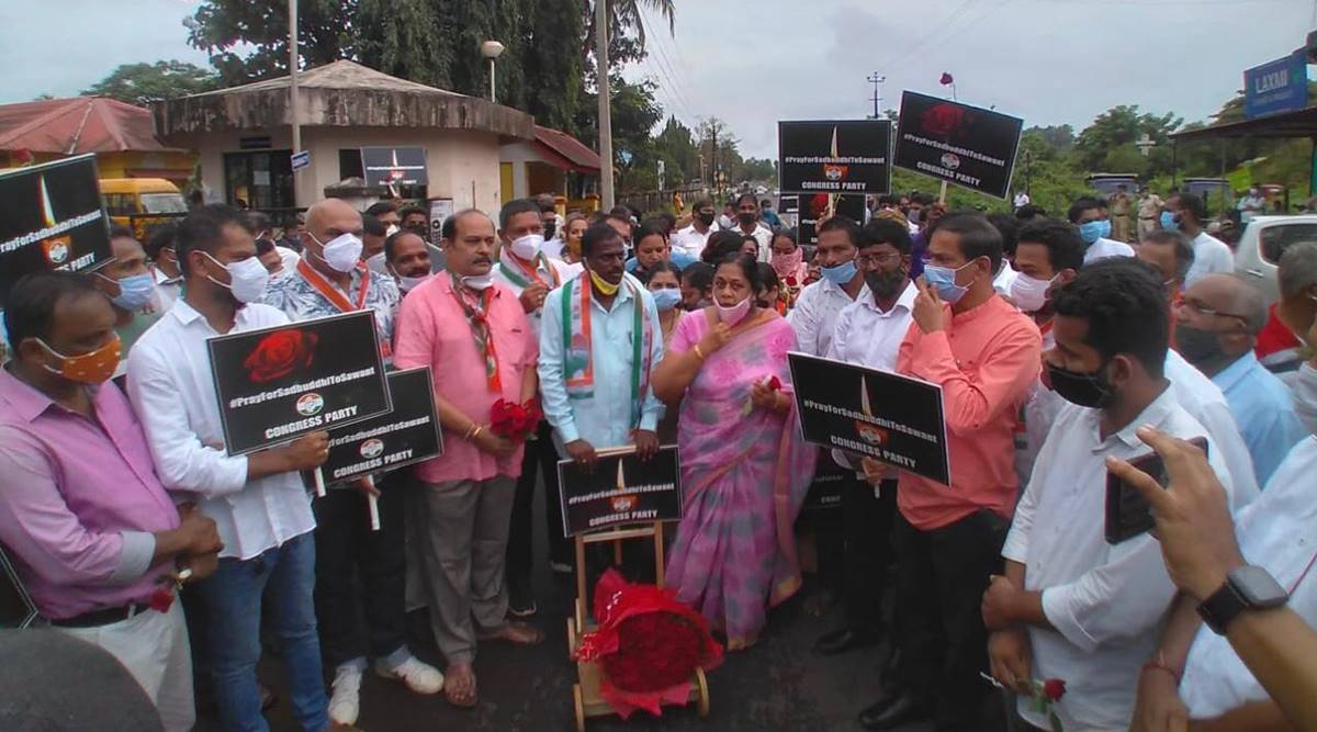 BJP, Cong workers take to streets for and against Sawant's remark after rape of minors; Covid norms thrown to the wind