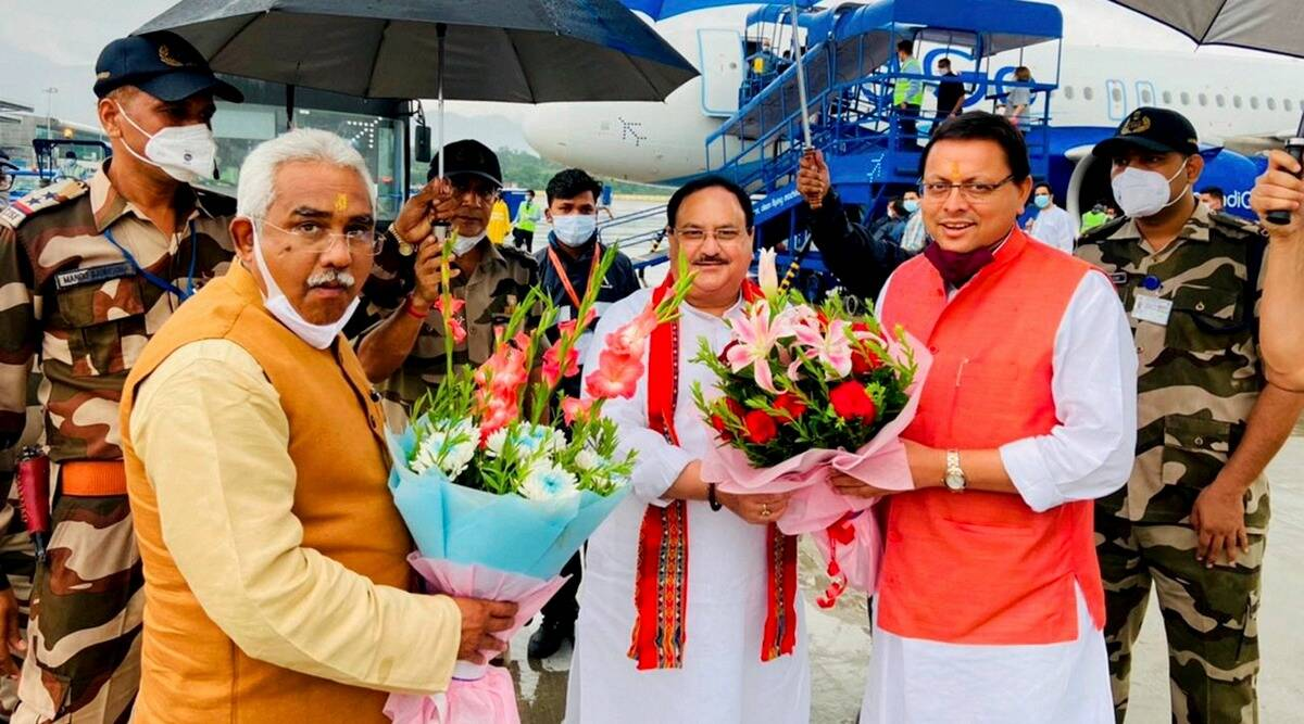JP nadda, BJP president, Uttarakhand Assembly polls, Uttarakhand, Pushkar Singh Dhami, Uttarakhand CM, indian express, indian express news